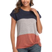 Womens Round Neck Triple Color T-Shirt,SS Orange