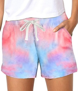 Womens Soft Stretch Casual Shorts with Drawstring,Orange