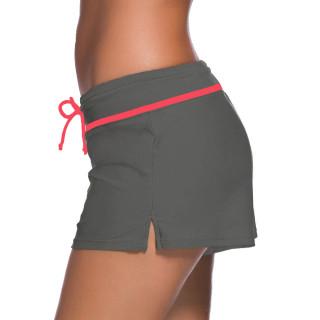 Womens Swimwear Shorts Beach Boardshort Trunks,Grey/Red