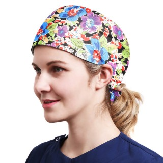 One Size Working Cap with Sweatband Adjustable Tie Back Hats Printed for Women,Print02