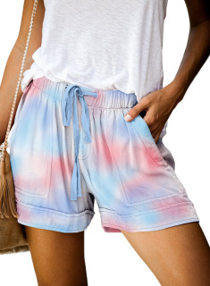 Womens Soft Stretch Casual Shorts with Drawstring,Pink/Blue