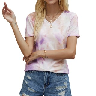 Womens Tie Dye Printed V-Neck Short Sleeve Casual Tops,Purple