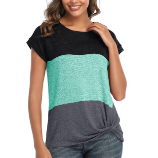 Womens Round Neck Triple Color T-Shirt,SS Green