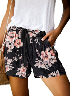 Womens Soft Stretch Casual Shorts with Drawstring,Black Flower