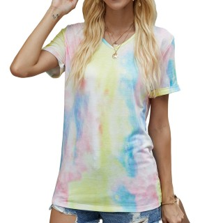 Womens Tie Dye Printed V-Neck Short Sleeve Casual Tops,Yellow