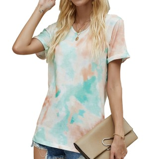 Womens Tie Dye Printed V-Neck Short Sleeve Casual Tops,Green