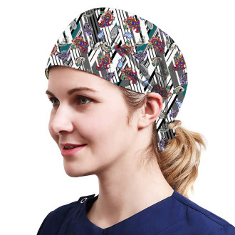 One Size Working Cap with Sweatband Adjustable Tie Back Hats Printed for Women,Print16