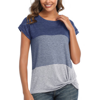 Womens Round Neck Triple Color T-Shirt,SS Blue