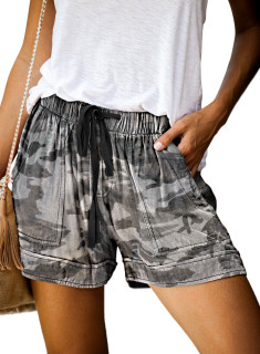 Womens Soft Stretch Casual Shorts with Drawstring,Camo