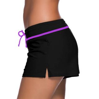 Womens Swimwear Shorts Beach Boardshort Trunks,Black/Purple