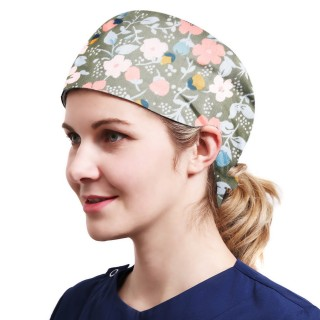 One Size Working Cap with Sweatband Adjustable Tie Back Hats Printed for Women,Print03