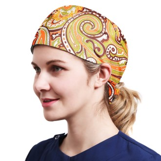 One Size Working Cap with Sweatband Adjustable Tie Back Hats Printed for Women,Print04