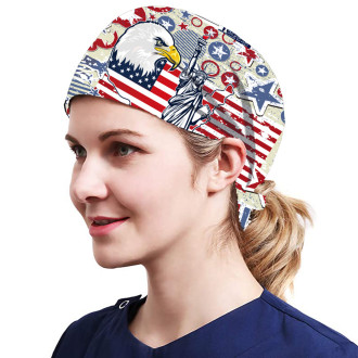 One Size Working Cap with Sweatband Adjustable Tie Back Hats Printed for Women,Print19