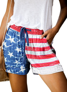 Womens Soft Stretch Casual Shorts with Drawstring,American Flag