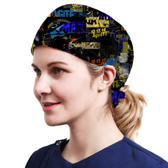 One Size Working Cap with Sweatband Adjustable Tie Back Hats Printed for Women,Print11