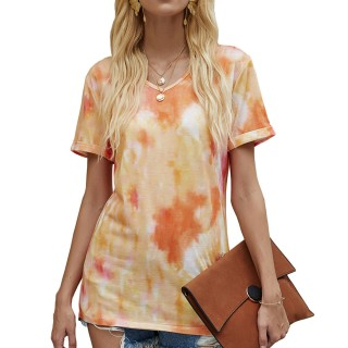 Womens Tie Dye Printed V-Neck Short Sleeve Casual Tops,Orange
