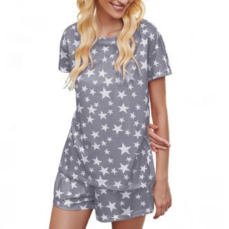 Womens Printed Short Sleeve Tops and Shorts 2 Piece Pajamas Sets,9801 Grey Star