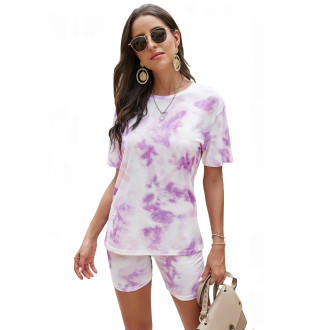 Womens Tie Dye Printed Short Sleeve Tops and Shorts 2 Piece Pajamas Sets,9806 Purple