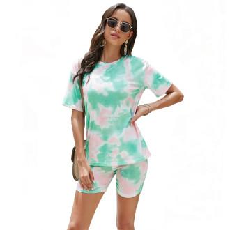 Womens Tie Dye Printed Short Sleeve Tops and Shorts 2 Piece Pajamas Sets,9806 Green