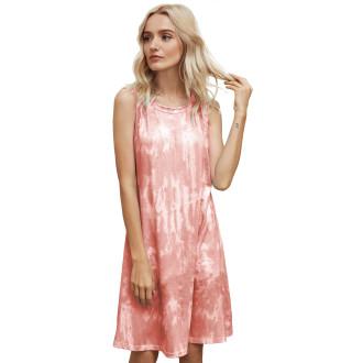 Womens Tie Dye Printed Casual Sleeveless Dresses,3309 Orange