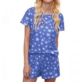 Womens Printed Short Sleeve Tops and Shorts 2 Piece Pajamas Sets,9801 Lavender Star