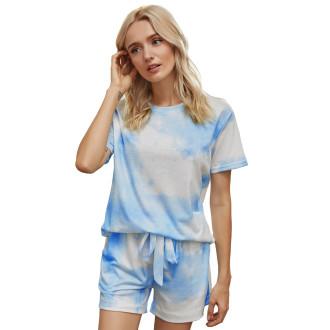 Womens Printed Short Sleeve Tops and Shorts 2 Piece Pajamas Sets,9803 Blue