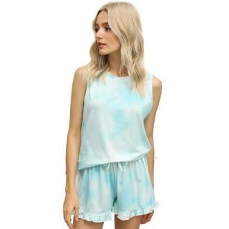 Womens Tie Dye Printed Sleeveless Tops and Shorts 2 Piece Pajamas Sleepwear,9802 Green