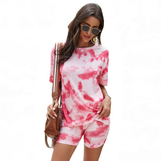 Womens Tie Dye Printed Short Sleeve Tops and Shorts 2 Piece Pajamas Sets,9806 Rose