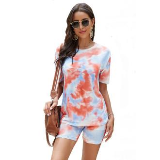 Womens Tie Dye Printed Short Sleeve Tops and Shorts 2 Piece Pajamas Sets,9806 Orange