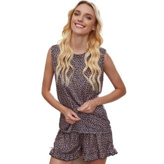 Womens Tie Dye Printed Sleeveless Tops and Shorts 2 Piece Pajamas Sleepwear,9802 Leopard
