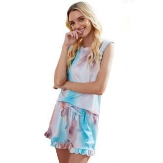 Womens Tie Dye Printed Sleeveless Tops and Shorts 2 Piece Pajamas Sleepwear,9802 Galaxy