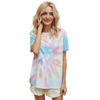 Womens Printed Short Sleeve Tops and Shorts 2 Piece Pajamas Sets,9803 Rainbow