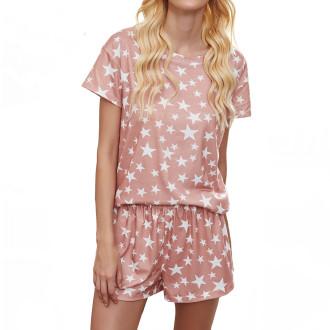 Womens Printed Short Sleeve Tops and Shorts 2 Piece Pajamas Sets,9801 Pink Star