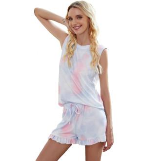 Womens Tie Dye Printed Sleeveless Tops and Shorts 2 Piece Pajamas Sleepwear,9802 Pink/Purple