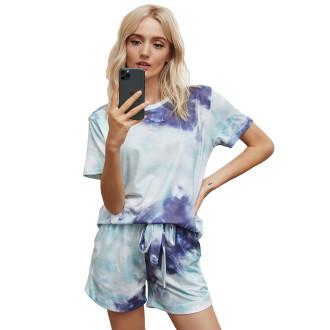 Womens Printed Short Sleeve Tops and Shorts 2 Piece Pajamas Sets,9803 Green