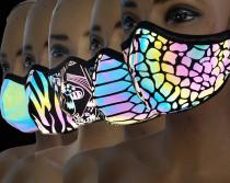 5 pack Rainbow Reflective Iridescent Dust Mask/Mouth Mask/Halloween Costume/Festival Mask/Burning Man Mask/Rave Mask/Holographic Mask