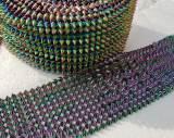 10 Yards Holographic Rainbow Sew Stitch On Spike Stud Cone Flatback Punk Rock Trim mesh Bead Craft ACRYLIC SPIKES SEW ON MESH RIBBON TRIM DECORATE