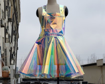 Handmade Custom Plus Size Holographic Vinyl Overall  Dress Rave Music Festival PVC Plastic Fantastic Dress Skater Circle Dress