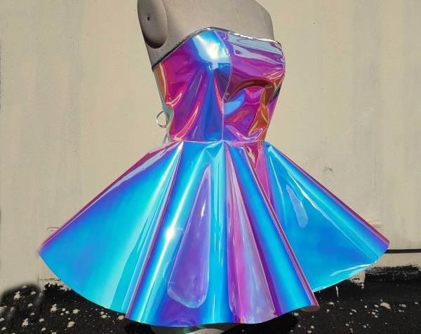 Handmade Custom Blue Homecoming Dress,Vinyl Prom Dress,Cocktail Dress,Strapless Short Party Dress,Iridescent Circle Dress,Vinyl Bridesmaid Dress