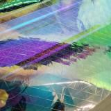 Handmade Custom Holographic Vinyl Bustier Mini Skirt Rave Music Festival PVC Plastic Clothing