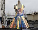 Handmade Custom Plus Size Holographic Vinyl Overall  Dress,Rave Music Festival PVC Plastic Fantastic Dress,Skater Circle Dress,Iridescent Star Apron Dress