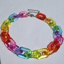 Custom Length Rainbow Choker,Rave Choker, Cuban Link Necklace Acrylic  Chain. Necklace