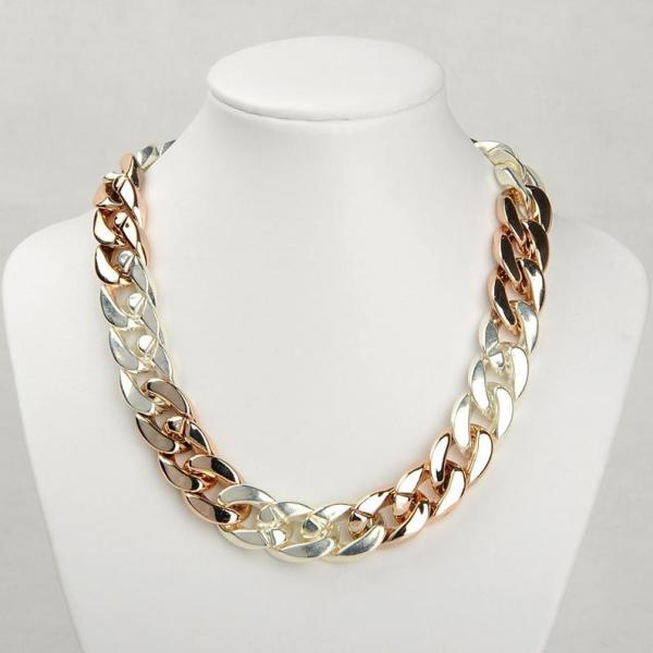 Handmade Gold Chunky Acrylic Chain Necklace in Silver and Rose Gold Color Plated, Oversize Metallic Look Chunky Chain Links, Adjustable Statement Necklace