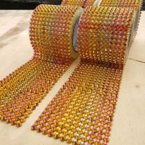 1 Yards Rainbow Sew Stitch On Spike Stud Cone Flatback Punk Rock Trim mesh Bead Craft ACRYLIC SPIKES SEW ON MESH RIBBON TRIM DECORATE