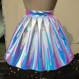 Handmade Custom Holographic Iridescent Vinyl PVC Pleasted Ball Skirt Plus Size Circle Skirt
