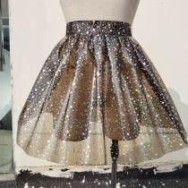 Handmade Custom Holographic Star Galaxy Vinyl PVC Pleasted Ball Skirt Plus Size Circle Skirt