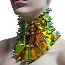 Handmade Iridescent Gold Mermaid Scale Spike Stud Posture Collar Back Laced Up