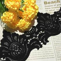 15 Yards Delicate Sewing Craft  Fabric  Table Cloth Trim  Black Gothic Lace Trim Applique