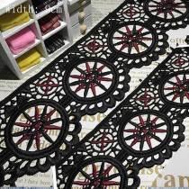 20 Yards Delicate Sewing Craft  Fabric Flower Venise Black Wedding Lace Trim Applique