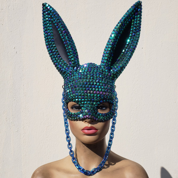 Holographic Burning Man Stud  Bunny Couture Mask Gogo Dancer Costume Festival Rave Outfits Gear Halloween Masquerade